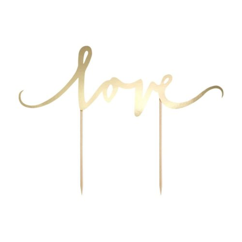 "Cake Topper "" Love "" - Or"