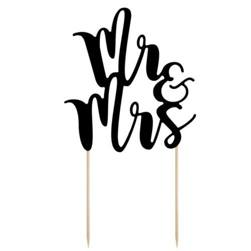 """Cake Topper """" Mr&Mrs """" - Noir"""