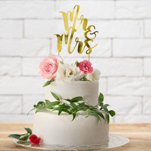 Cake Topper Mr & Mrs - Or
