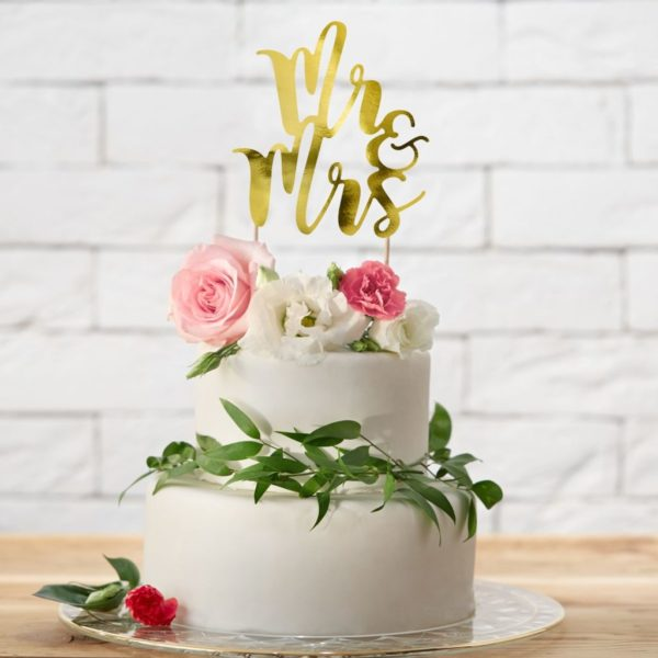 Cake Topper Mr & Mrs - Or