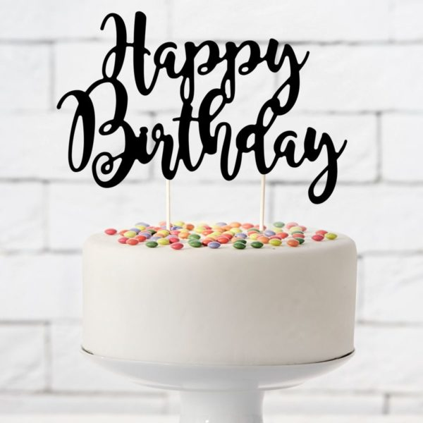 Cake Topper Happy Birthday - Noir