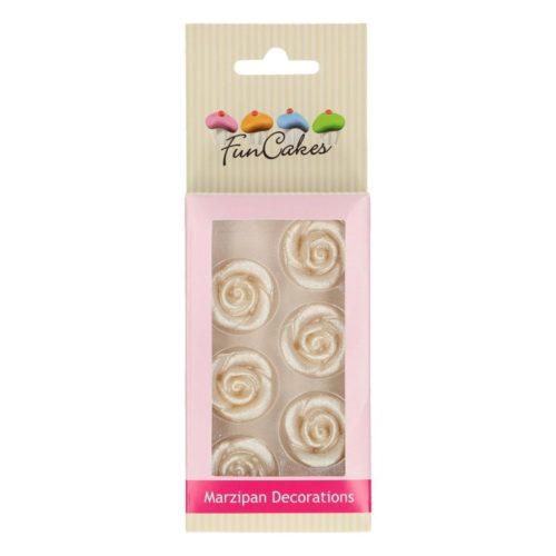FunCakes Décorations en pâte d'amande Roses Argentées Set/6