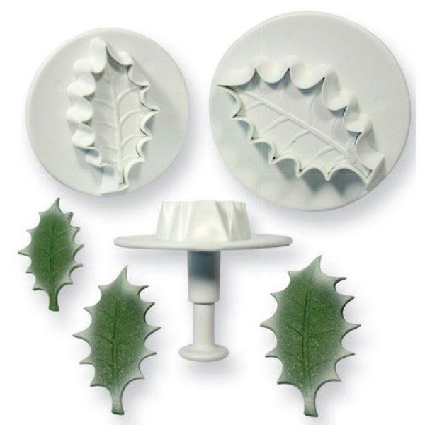 Découpoir poussoir feuille d'houx avec nervures set/3  - Holly leaf plunger cutter set/3 Large size