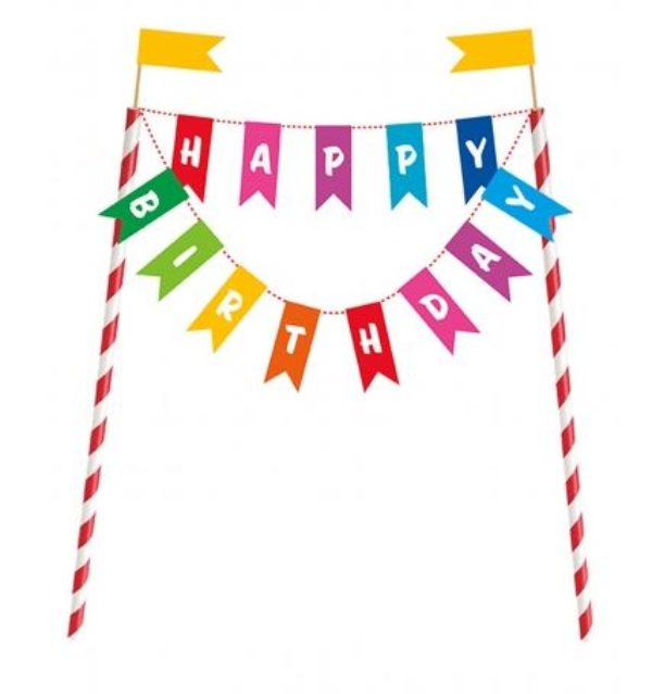 Décoration pour gâteau Happy Birthday fanions - bunting cake topper