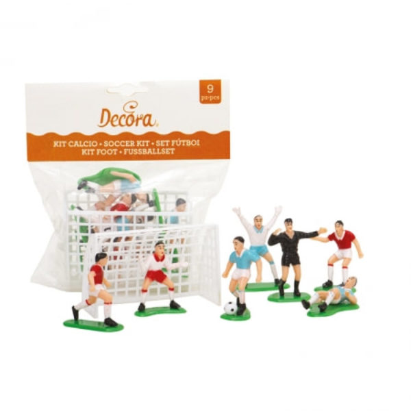Kit de football 7 figurines et 2 buts - SOCCER DECORATING SET 9PCS - 7 PLAYERS + 2 GOALS