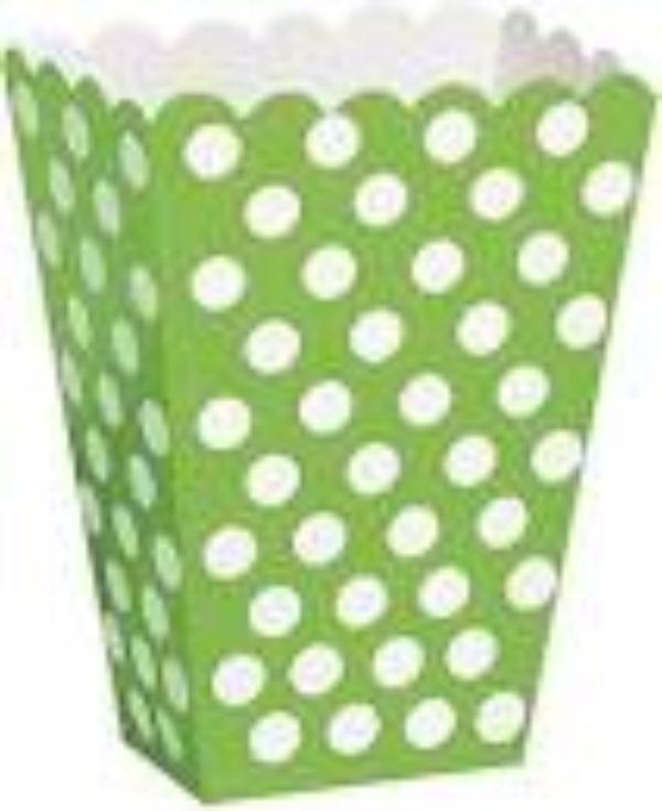 8 boîtes pop corn verte à pois blanc - 8 Pop-corn  or treat boxes