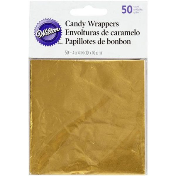 Papillotes d'emballage pour bonbons sucettes ou chocolats - or - Candy Foil Wrappers Gold pk/50
