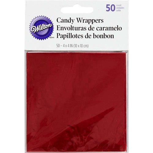 Papillotes d'emballage pour bonbons sucettes ou chocolats -rouge - Candy Foil Wrappers Gold pk/50