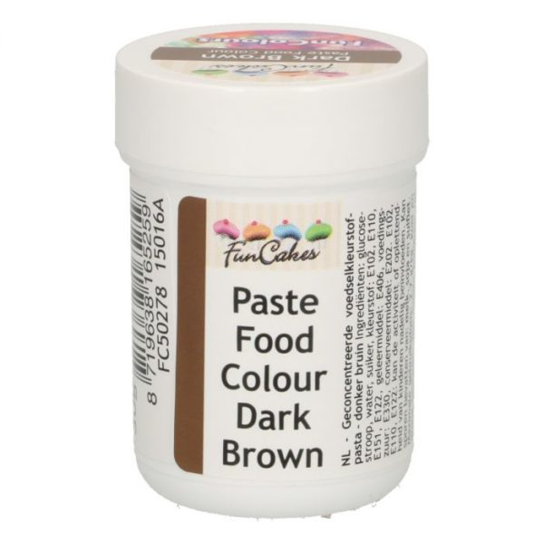 FunColours-Pâte colorante alimentaire - Paste Food Colour - Brown- 30g- Brun -