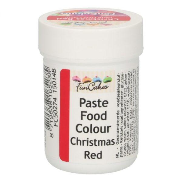 FunColours-Pâte colorante alimentaire - Paste Food Colour - christmas red- 30g-  rouge foncé