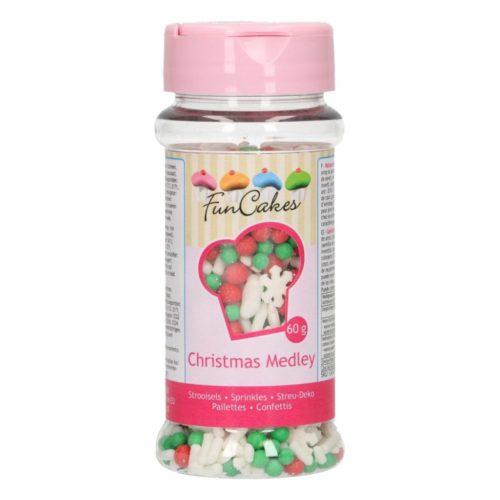 confettis mélange de paillettes blanches, rouges et vertes et flocon de neige blanc noel