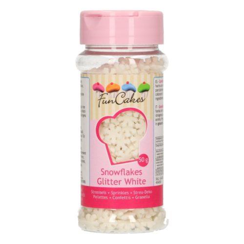 confettis flocons de neige blancs pailletés - glitter white snowflakes