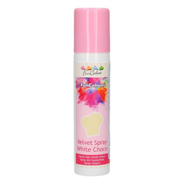 FunCakes Spray Velours FunColours -Chocolat Blanc- 100mL