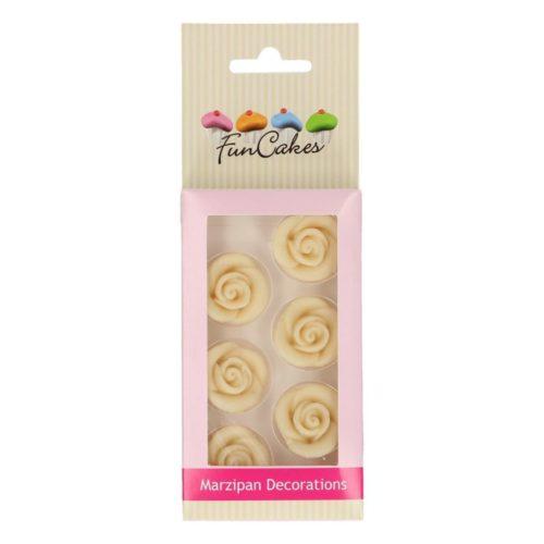 FunCakes Décorations en pâte d'amande Roses Blanches Set/6