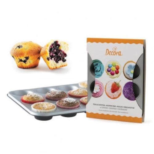 Moule à 12 muffins/cupcakes en acier antiadhésif -Non stick steel 12 muffin baking pan