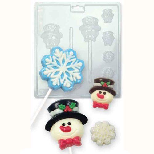 Moules pour chocolat/bonbons bonhomme de neige - flocons avec encoche pour bâton de sucette
